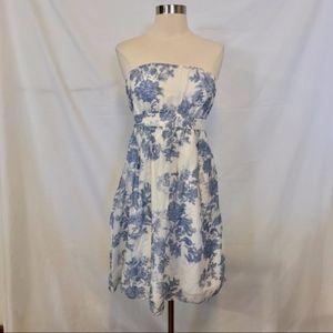 GAP Blue & White Floral Print Strapless Dress